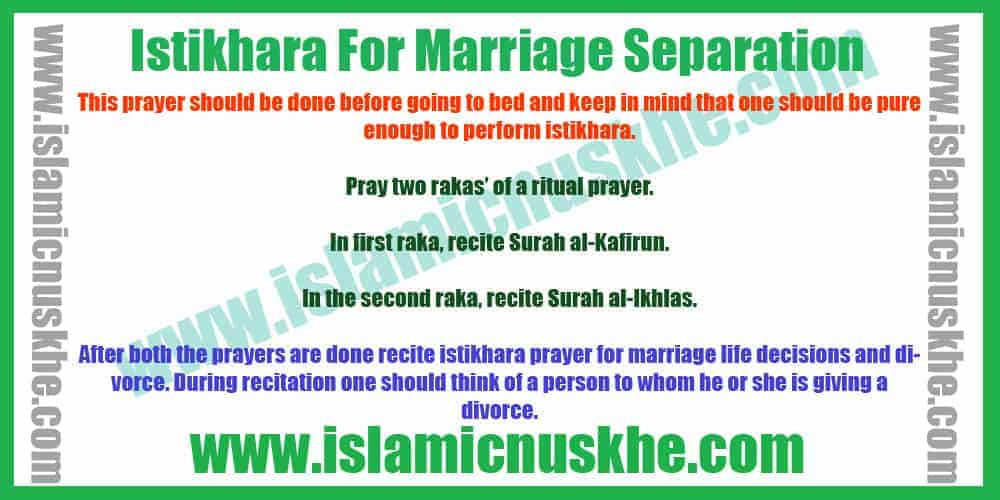 Istikhara For Marriage Separation