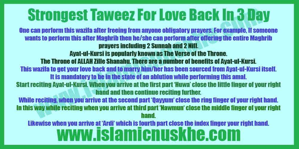 Powerful Strongest Taweez For Love Back In 3 Day