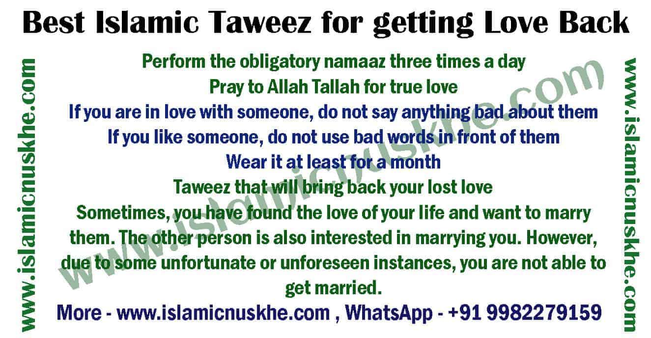 Best Islamic Taweez for getting Love Back