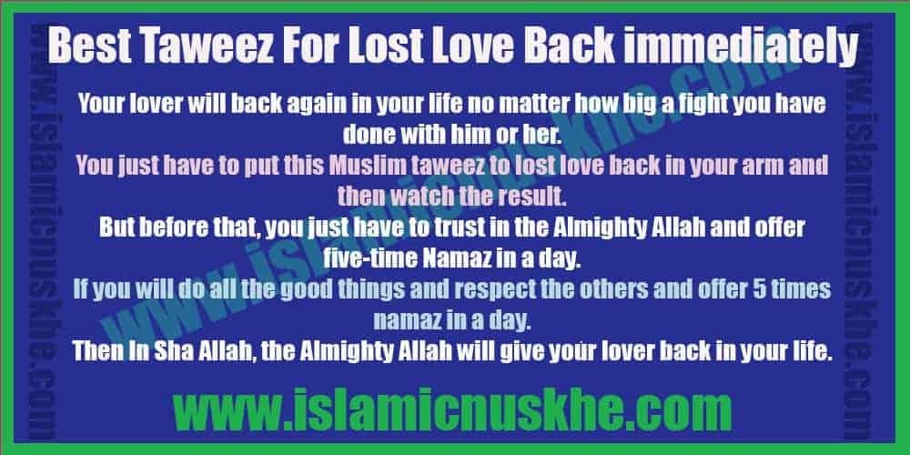 Best Taweez For Lost Love Back immediately