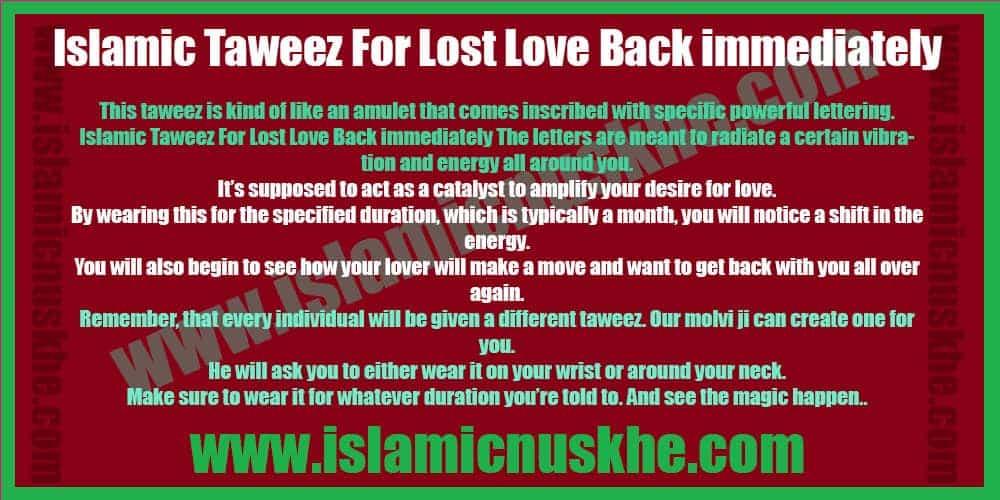Taweez For Lost Love Back immediately