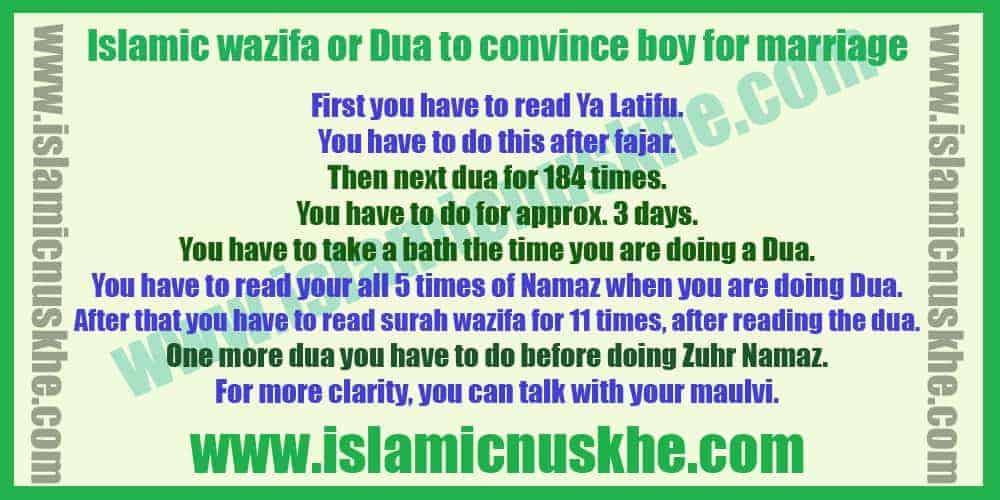 Islamic wazifa or Dua to convince boy for marriage