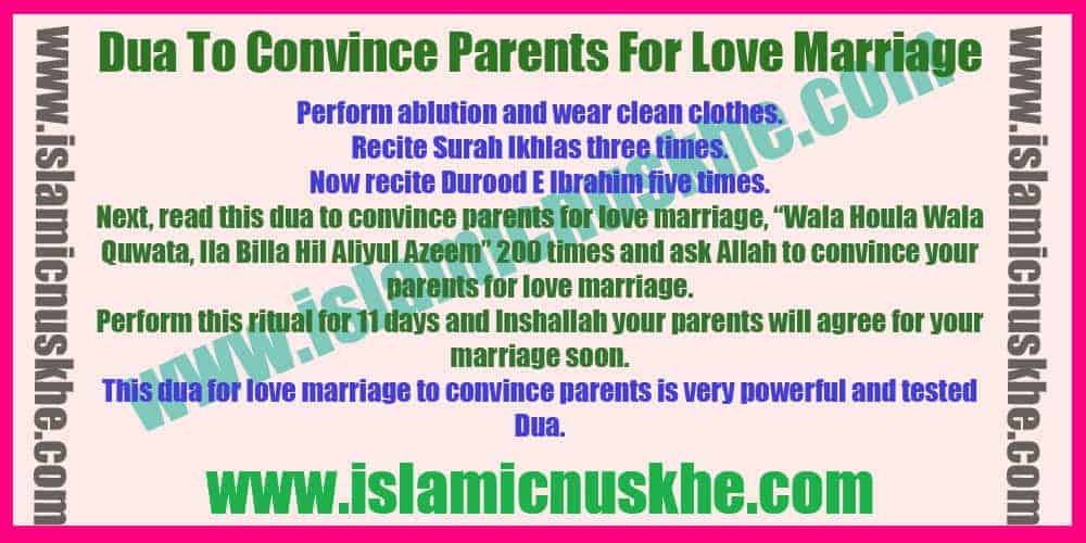 Powerful Dua To Convince Parents For Love Marriage