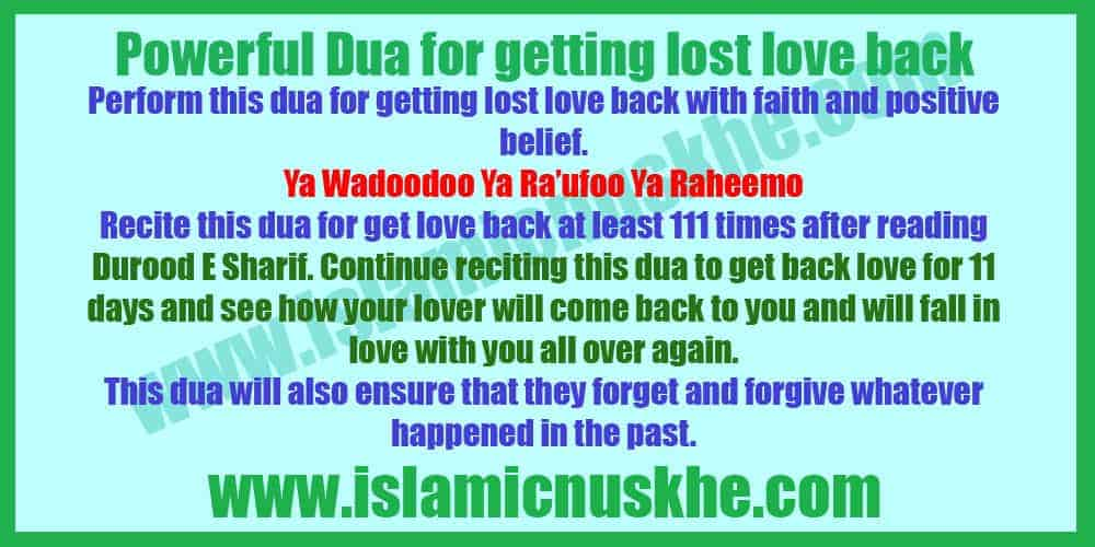 Powerful Dua for getting lost love back
