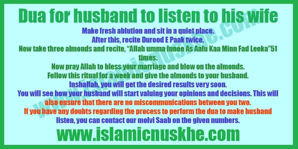 Working Dua for husband to listen to his wife