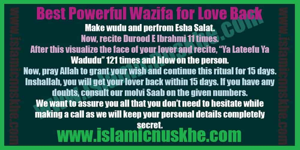 Best Powerful Dua Wazifa for Love Back