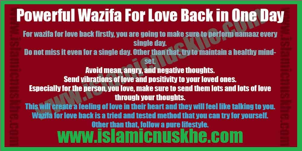 Best Powerful Wazifa for Love Back - Working Wazifa