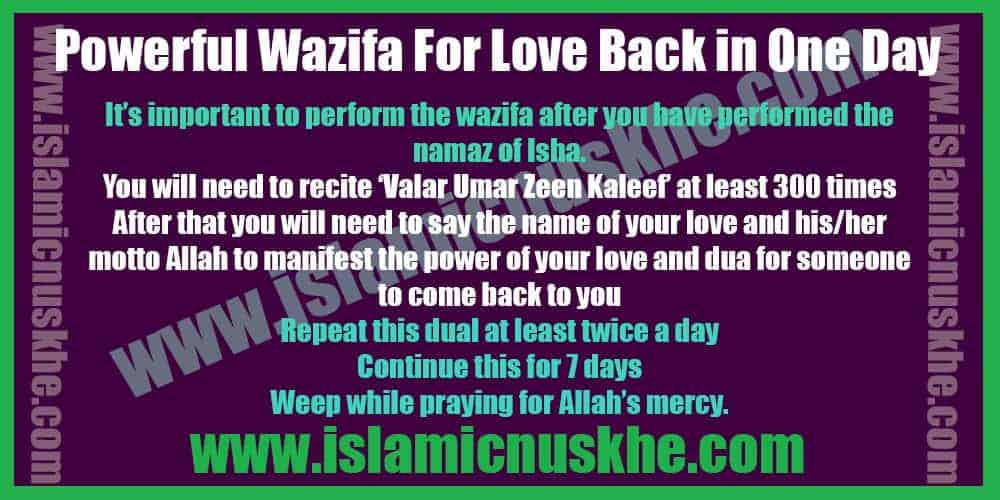 Powerful Wazifa For Love Back in One Day