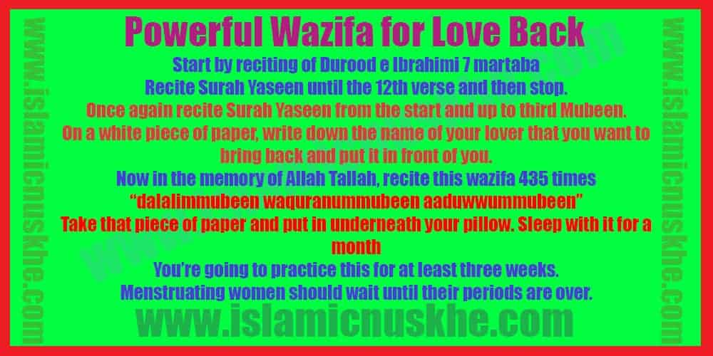 Powerful Wazifa for Love Back