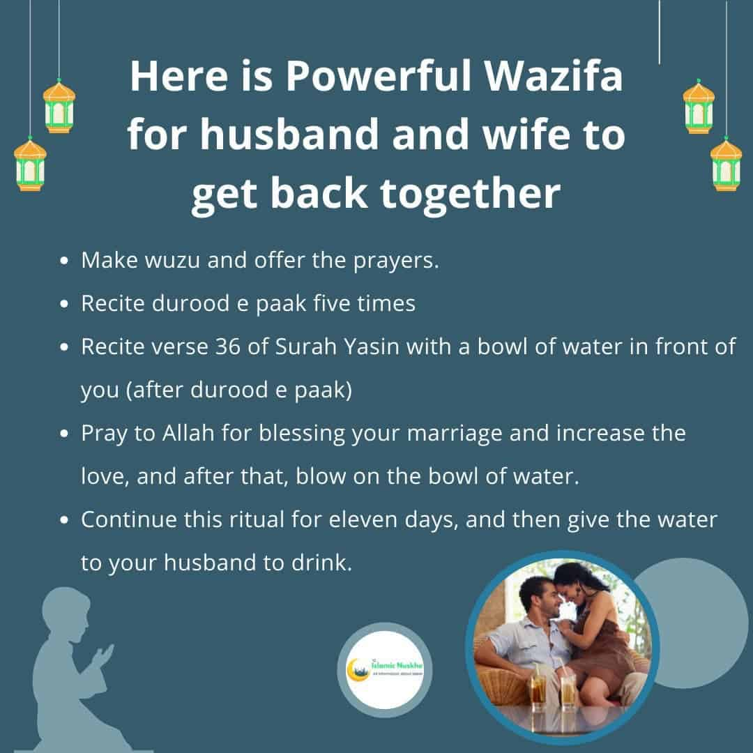Here is Powerful Wazifa for husband and wife to get back together