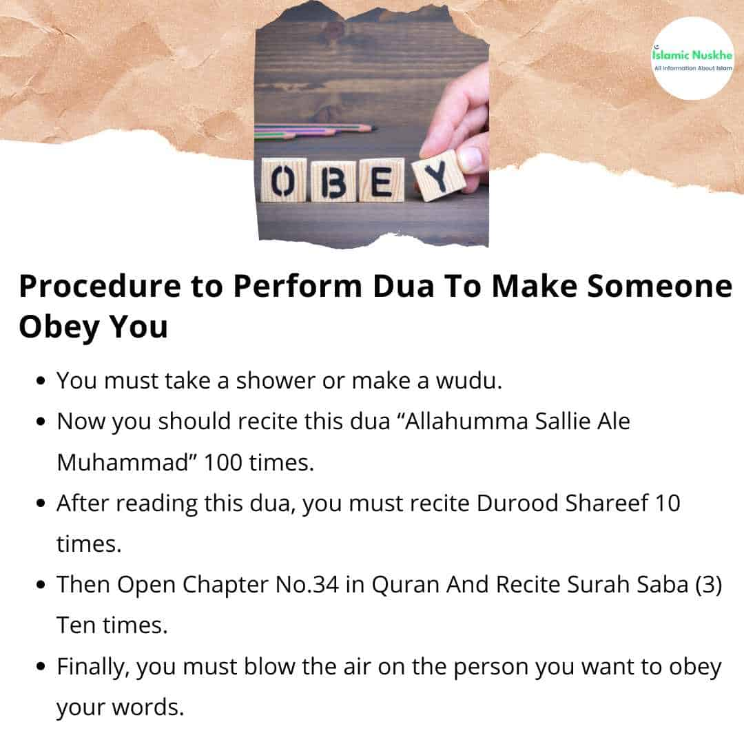 Here is the Procedure to Perform Dua To Make Someone Obey You